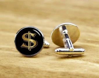 Dollar Sign Cufflinks, Custom Sign Cuff Links, Personalized Cufflinks, Custom Wedding Cufflinks, Round, Square Cufflinks, Tie Clips, Or Set