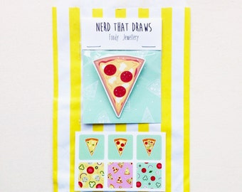 NEW Cute Illustrated Pizza Slice Brooch - Pepperoni