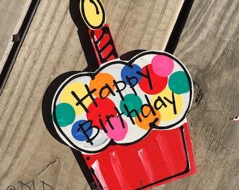 Happy birthday cupcake door hanger attachments