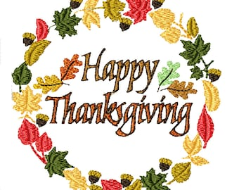 Happy Thanksgiving Wreath- Machine Embroidery Design