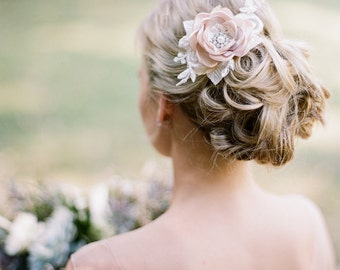 Bridal Comb. Champagne Flower Comb. Bridal Champagne Flower Hair Comb.