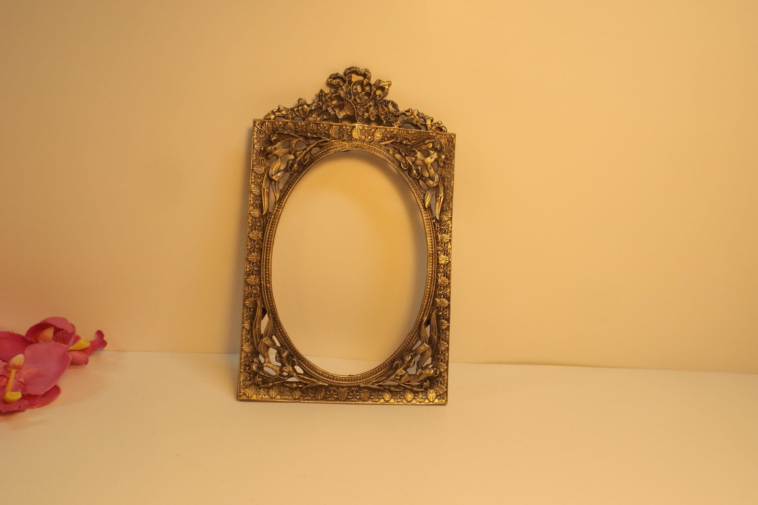 Sale Antique ornate pewter filigree frame oval picture or mirror ...