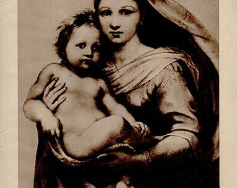 Antique print 1910. Raphael's Madonna di San Sisto. Photogravure print. 107 years old print. Antique print plate.9.5x7 inches, 24x18cm