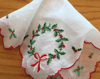 "Vintage Christmas Holly Wreath Embroidered  Handkerchief Hanky with Scalloped Edge 11"" vintage Christmas handkerchief, Christmas wreath"