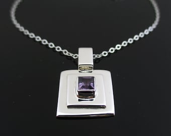Silver purple necklace, Purple amethyst crystal necklace, Square necklace, Purple gemstone jewelry, Purple pendant