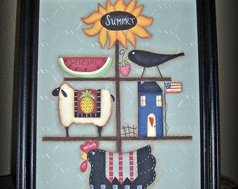 Primitive Summer 8 x 10 Framed Canvas Sunflower Crow Chicken Wall Decor