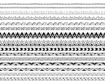 25 Hand Drawn Decorative Borders, Pattern Brushes: Tribal, Boho, Geometric, Abstract Doodle; Digital Borders Clipart, Borders Clip Art