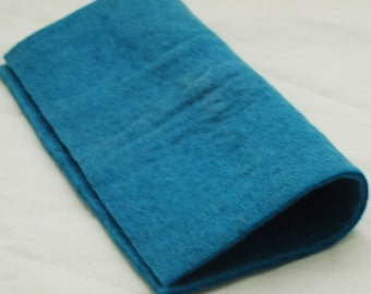 """100% Wool Felt Fabric - Approx 3mm - 5mm Thick - 30cm / 12"""" Square Sheet - Cerulean Blue"""