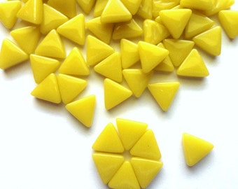 MINI Bright Yellow Triangle Shaped Mosaic Tiles 10mm//Recycled Glass Tiles//Mosaic Supplies//Jewelry Supplies//Mosaics