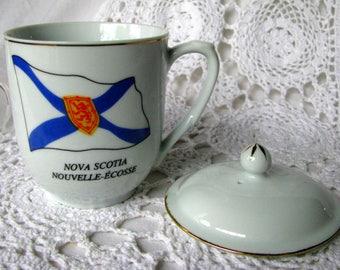 Canadian Collection Nova Scotia Flag Covered Coffee Mug, Blue and White Nova Scotia Large Cup and Lid, Hot Chocolate Mug, Large Tea Cup