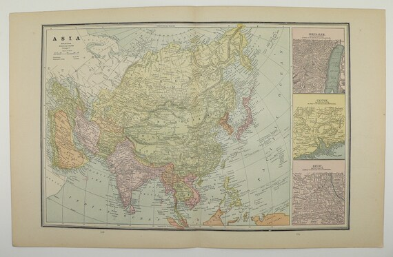 Antique map asia russia map 1886 vintage map china middle east like this item gumiabroncs Gallery