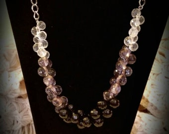 After Life Accessories Repurposed Black Grey tone clear statement necklace