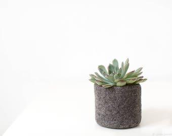 Succulent planter - Hygge home decor - Organic wool felt vase - Gray cactus vase - Housewarming gift - Modern - Mountain rock stone like