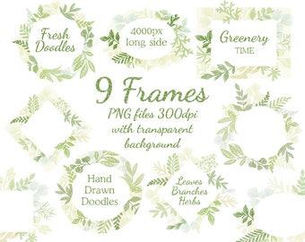 Leaf frame/leaves/wedding invitation/clipart. Wild Leaf/Spring/Green leaves clip art, Greenery Clip Art, digital clip art, branch clipart,