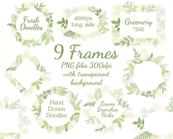 Leaf Frame/leaves/wedding Invitation/clipart. Wild Leaf/Spring/Green Leaves Clip  Art, Greenery Clip Art, Digital Clip Art, Branch Clipart, From Antuanetto  ...
