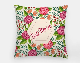 Pillow - Custom name - Tropical - Hot pink and green