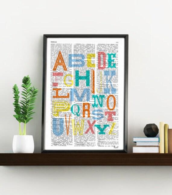 Wall hanging Nursery Alphabet book print- Typography collage Printed on vintage dictionary nursery wall decor print TYQ011