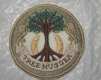TREE HUGGER for CONSERVATION Embroidered Iron on Patch - 2 sizes available