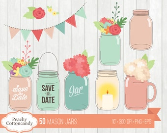 BUY 2 GET 1 FREE 50 Chic Mason Jars Clip Art / Wedding Mason Jar Clipart / Floral save the date jar vector illustration - commercial use ok