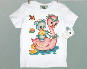 Pink Swan Shirt with Little Blue Teddy Bear. Girl's Vintage Nursery Decal Shirt. Great Gift for Girl.