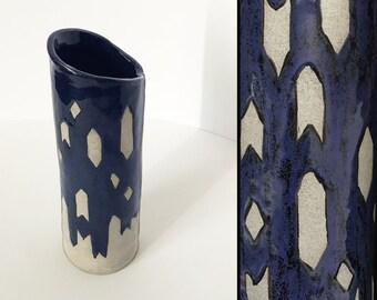 Ceramic Vase - Blue Diamonds