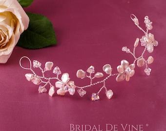 Bridal Hair Vine Keishi Pearl, Freshwater Pearls & Crystals-  Wedding Retro, Vintage UK