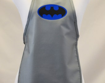 CLOSE OUT SALE!!  Child's Super Hero Batman Dress Up Costume Apron  Art Smock  Boy's or Girl's   Birthday Parties Grey & White