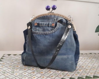 Denim purse, hand bag from recycled jeans, clutch, purse with a metal frame, kiss lock purse