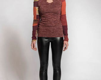 Womens sweater sale - Red sweater - Burgundy sweater - Shirt - Long sleeves sweater - Patchwork - Made in Quebec Made in Canada - Upcycling