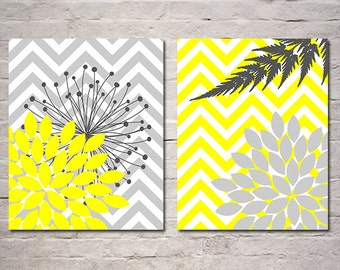 Flower Burst Wall Art - Yellow and Gray Art Prints - Chevron - Apartment Decor - Set of Two Floral Nature Prints -  Available in Any Color