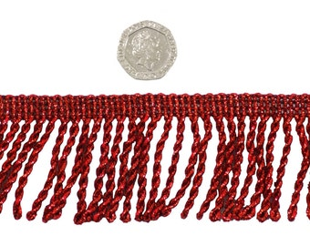 Red Twisted 50mm Metallic Bullion Fringe Trimming Sold by the Metre