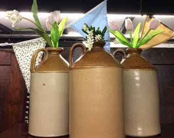 Collection Of Three Large Stoneware Flagons / Demijohns