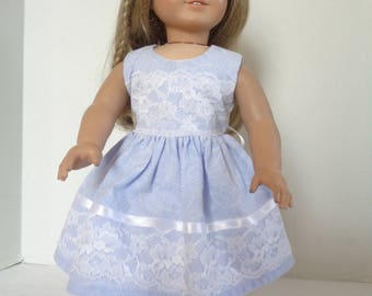 18 Inch Doll Clothes/18 Inch Doll Dress/Purple and White Summer Doll Dress/Lace and Ribbon