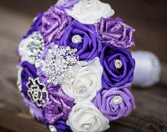 Purple brooch bouquet, broach bouquet, purple roses and silver brooches bouquet, purple bridal bouquet, lavender bouquet, glitter bouquet