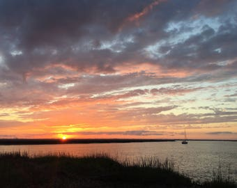 Sunset over the salt marsh on St. Simons Island