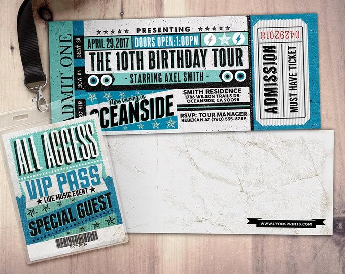 Pop star, Rock Star concert ticket birthday party invitation- Music invitation- printable, rockstar party, pop star, karaoke party, vintage