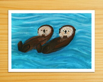 Sea Otters Together 5x7 Print
