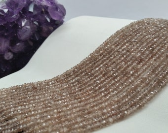 """Natural Zircon (Dark Brown) Faceted Rondelles AA Quality 3 to 4mm, 13.5-14""""L"""