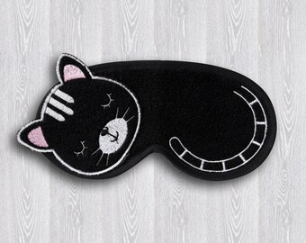 Black Cat Sleep Mask, Travel Mask, Comfortable Sleeping Eye Mask, Funny sleep mask Night, Sleeping Mask For Kids, Gift sleep mask