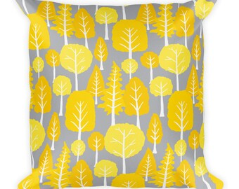 Beautiful trend-forward grey and yellow tree pattern on gorgeous Square Pillow Home Decor