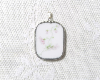 Vintage Broken China Jewelry Pendant