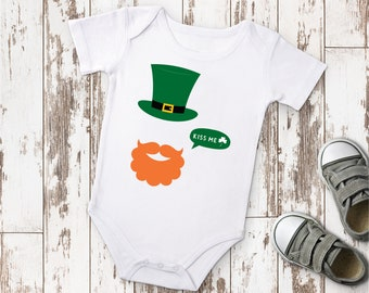 Leprechaun Beard, Kiss me Onesie©, Irish Baby Bodysuit, St. Patricks Day Outfit, O032