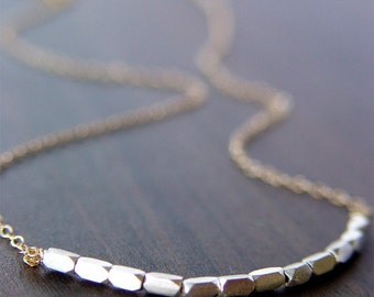Silver Nugget Necklace - Mixed Metal Gold & Sterling