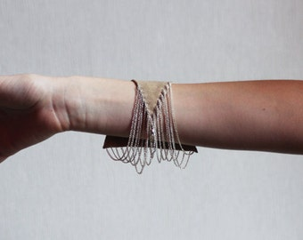 Suede and chain geometric bracelet
