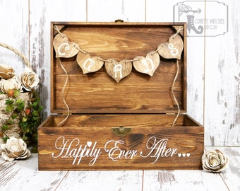 Stained Wedding Happily Ever After Card Placement Box, Wedding Card Box, Card Placement Box for Weddings, Stained Happily Ever After Box