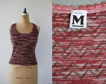 1990s Missoni knit tank top / 90s designer top / maroon Missoni striped sleeveless top / vintage Missoni shirt / small medium