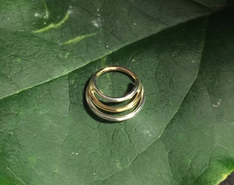 Silver and gold tripple ring septum ring