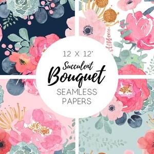 Seamless Floral Paper, watercolor floral paper, Seamless Patterns, Digital Paper, Scrapbook, Flowers, Succulent, Cactus