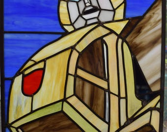 Transformers Bumblebee Leaded Stained Glass Panel