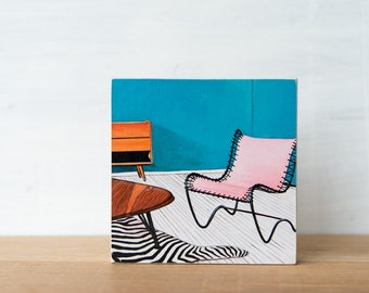 Midcentury Chair Art Block - Pink Chair, SALE, midcentury modern, vintage chair, chair art, midcentury art, vintage decor